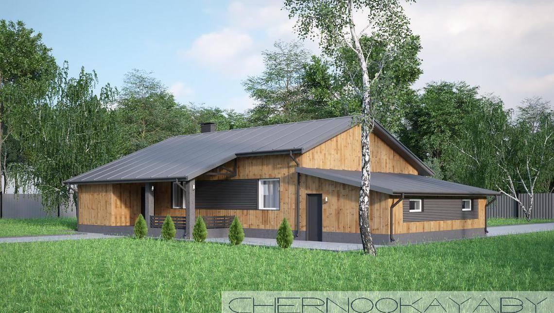 Красивый одноэтажный особняк под двухскатною крышею