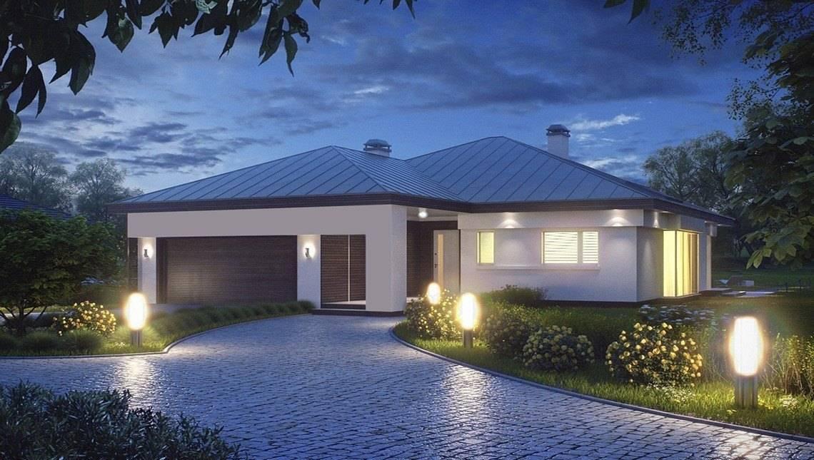 Проект одноэтажного дома с гаражом для двух автомобилей