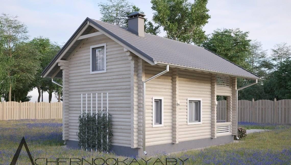 Деревянный жилой дом под двускатной крышей