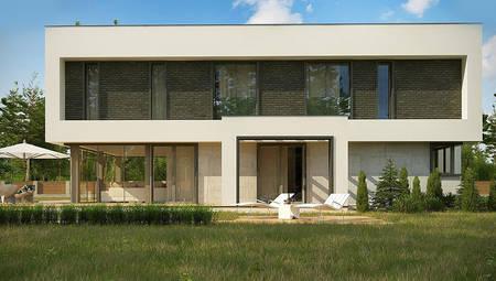 Чертеж стильного дома площадью 283 кв. м с черно-белым декором