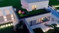 Планировка современного особняка площадью 224 кв. м с кабинетом и санузлом для каждой спальни