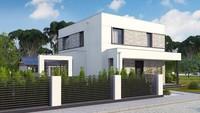 Проект белоснежного дома на 133 кв. м, декорированного натуральным камнем