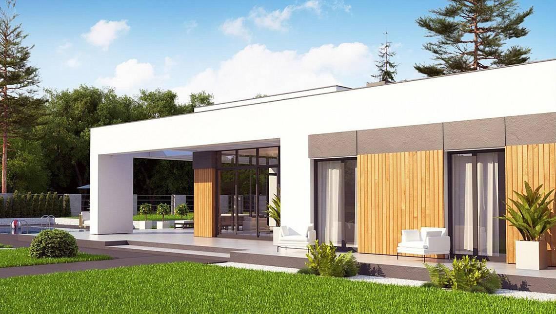Чертеж одноэтажного дома площадью 171 кв. м в стиле современного минимализма