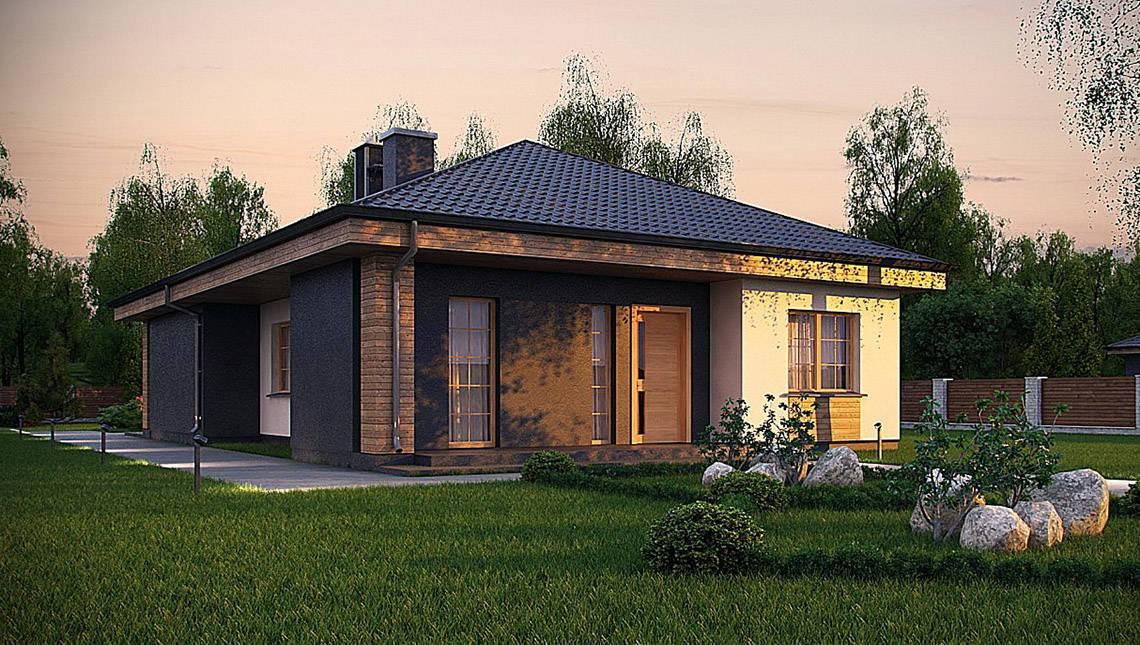 Планировка одноэтажного дома площадью 120 кв. м с просторной гостиной и тремя спальнями