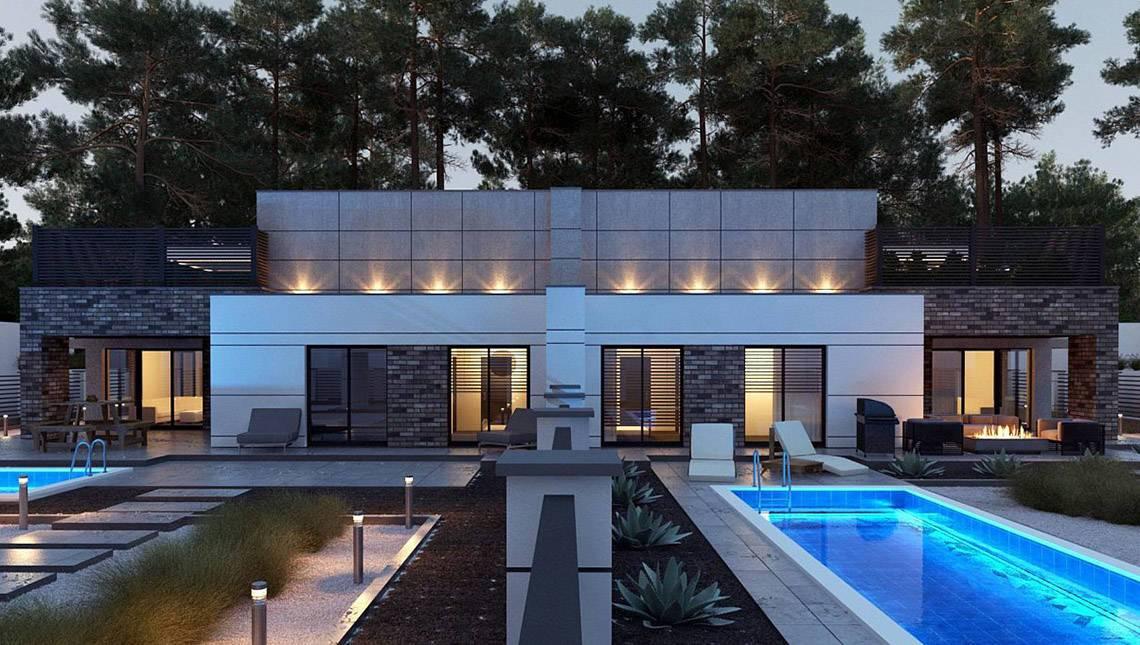 План великолепного особняка площадью 246 кв. м, декорированного кирпичной кладкой