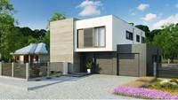 Чертеж двухэтажного дома площадью 220 кв. м с гаражным помещением на две машины