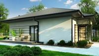 Чертеж стильного черно-белого дома на 103 кв. м с полосатым декором