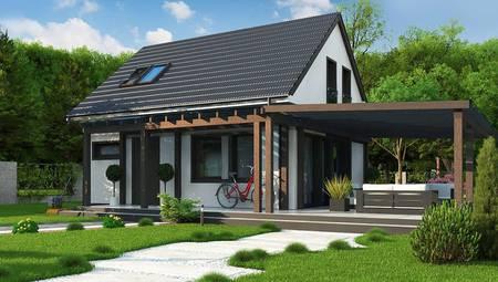 Проект двухэтажного коттеджа на 104 кв. м для небольшой семьи