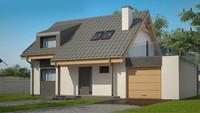 План стильного дома площадью 151 кв. м с просторной террасой над гаражом