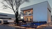 Чертеж просторного двухуровневого дома площадью 183 кв. м в современном стиле