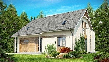 Проект дома с гаражом, балконом и эркером