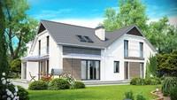 Проект дома с гаражом для двух автомобилей и угловым эркером