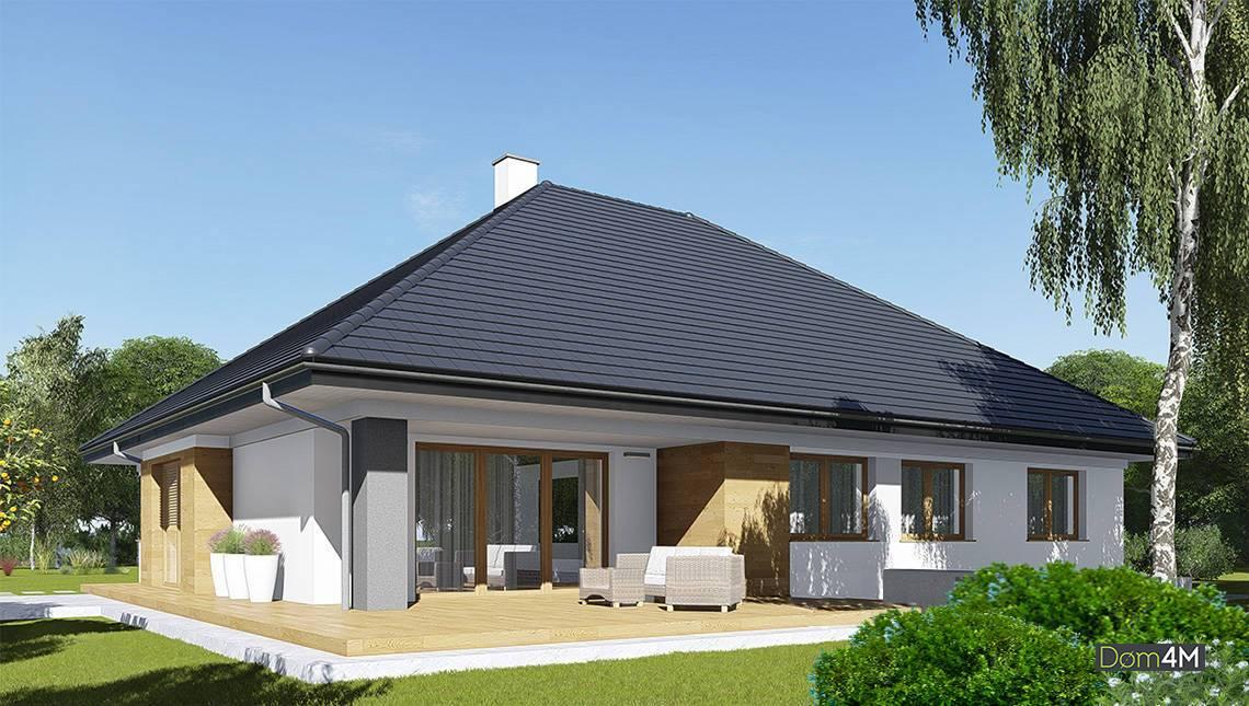 Красивый одноэтажный дом с крышей шале