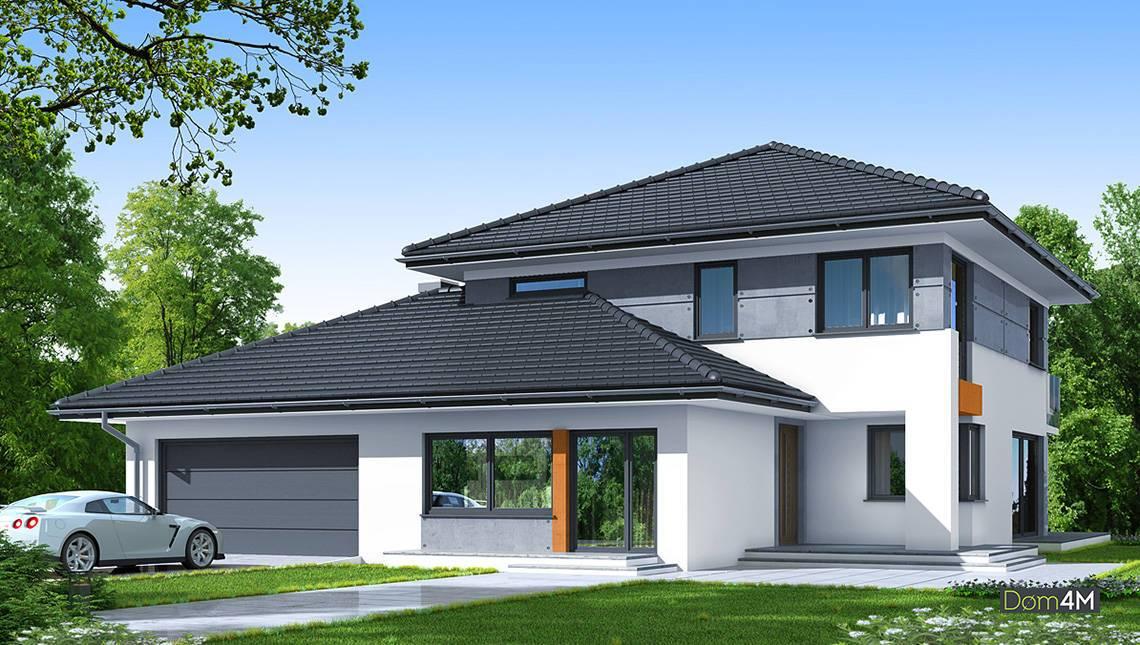 Красивый двухэтажный дом в чёрно-белом цвете
