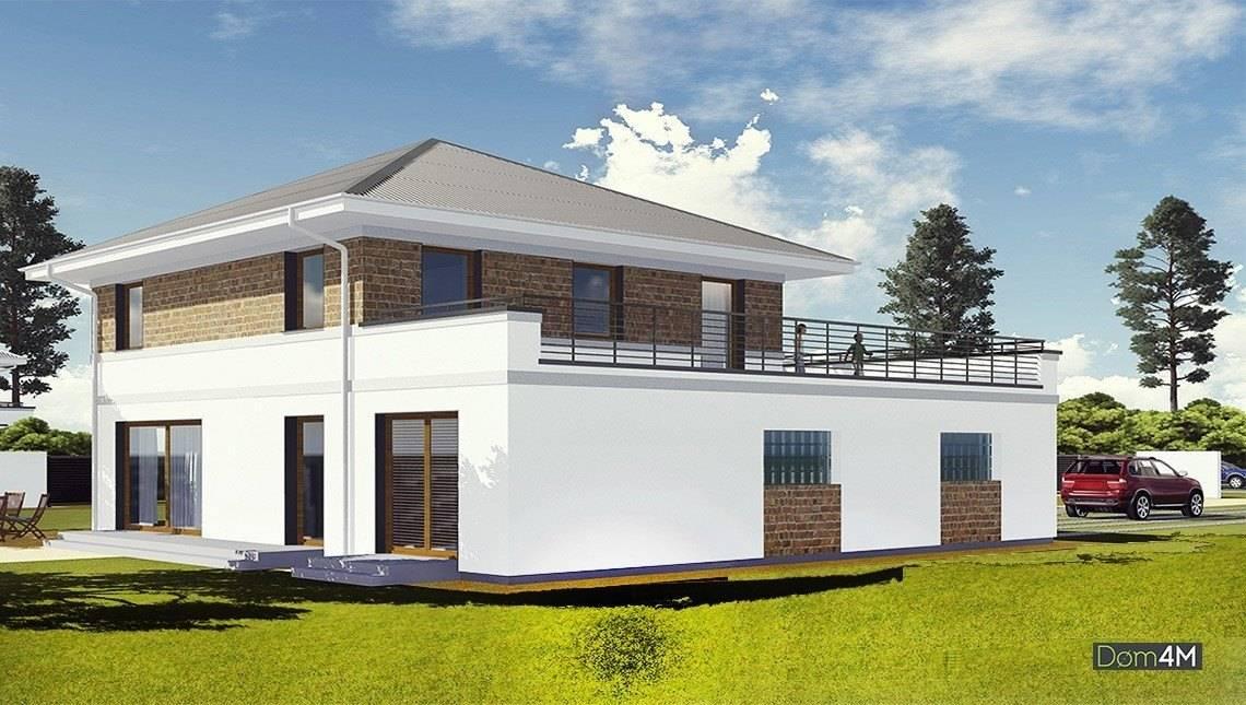 Двухэтажный коттедж с открытой террасой