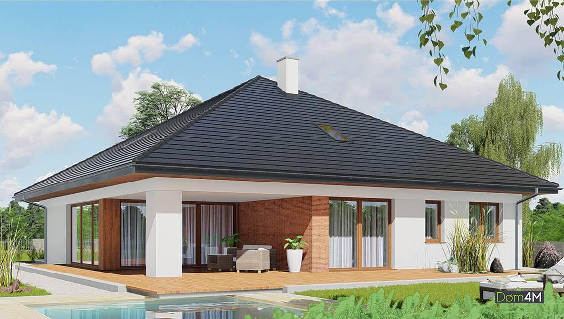 Красивый жилой дом под четырехскатной крышей