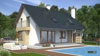 Мансардный двухэтажный дом для загородного участка