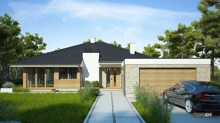Одноэтажный дом с гаражом на два автомобиля