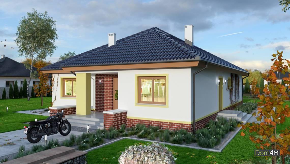 Одноэтажный дом с камином-барбекю