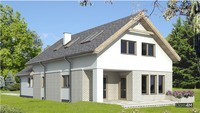 Стильный двухэтажный дом, декорированный кирпичом