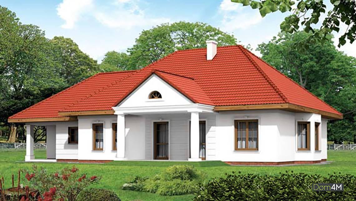 Одноэтажный коттедж яркой расцветки