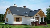 Жилой дом с деревянными ставнями