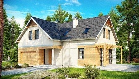 Проект светлого удобного загородного дома с мансардой и гаражом