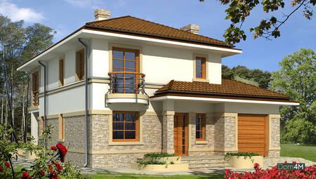 Проект двухэтажного особняка с полукруглыми террасами и балконами