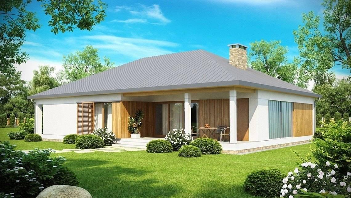 Проект одноэтажного дома с гаражом и крытой террасой