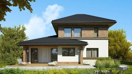 Проект двухэтажного дома с просторной террасой на втором этаже
