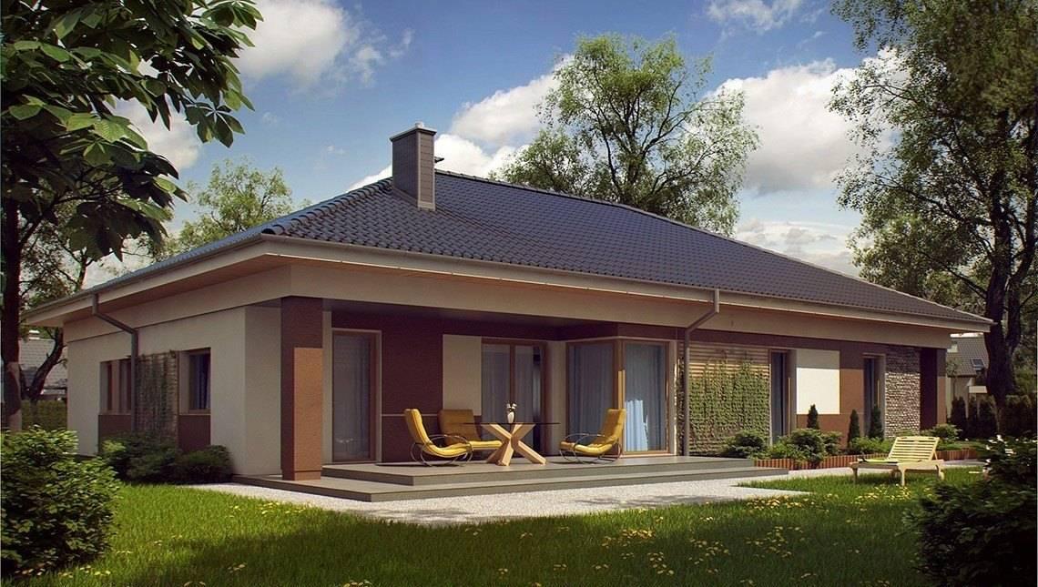 Проект одноэтажного дома с 4 спальнями