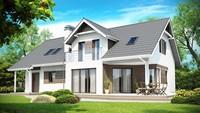 Проект дома со встроенным гаражом, угловой террасой и кабинетом