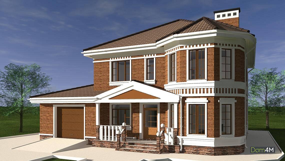 План восхитительного двухэтажного жилого дома с полукруглой верандой и эркерами