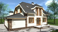 План двухэтажного комфортного дома, с кирпично-каменным декором