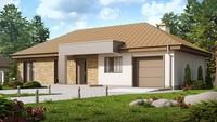 Проект одноэтажного дома с гаражом, с приватной зоной