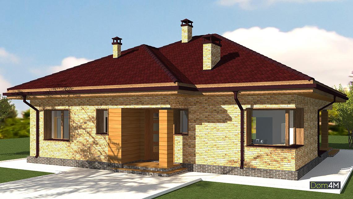 Схема одноэтажного дома с колоннами и просторной зоной для летнего отдыха
