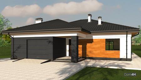 Схема одноэтажного коттеджа со встроенным гаражом и черно-белой окраской стен