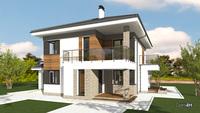 Планировка яркого двухэтажного коттеджа со спальнями повышенной комфортности