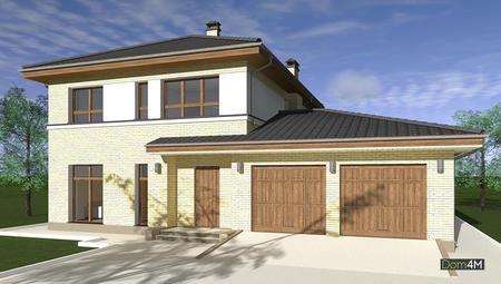 Планировка двухэтажного коттеджа с большим встроенным гаражом