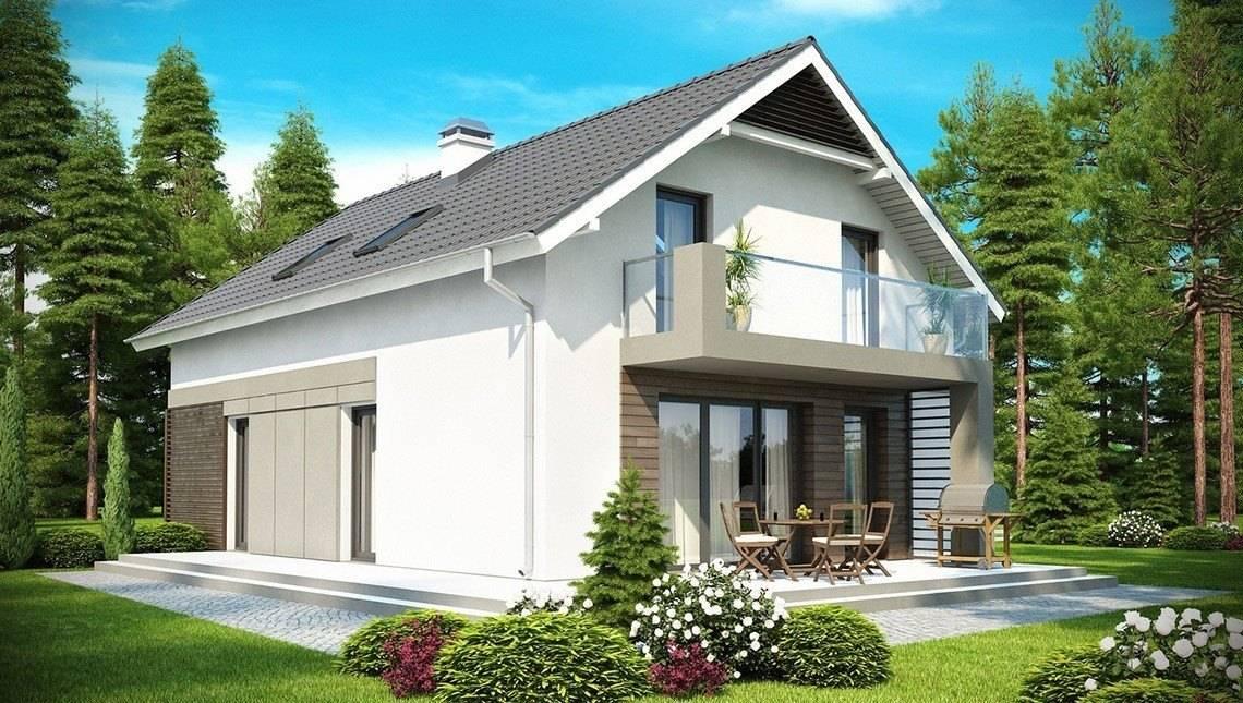 Проект дома с мансардой, с фронтальным гаражом