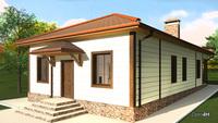 Проект компактного небольшого одноэтажного дома на 3 спальни