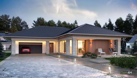 Одноэтажный жилой дом уникальной планировки с просторным гаражом