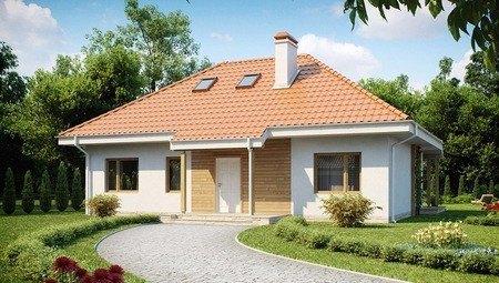 Проект одноэтажного дома с чердаком традиционного стиля
