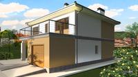 Схема красивого жилого дома с просторным гаражом
