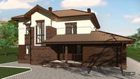 Оригинальный проект двухэтажного дома со спальней в эркере