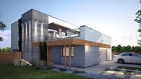 Схема двухэтажного дома с гаражом на 2 автомобиля и огромной террасой