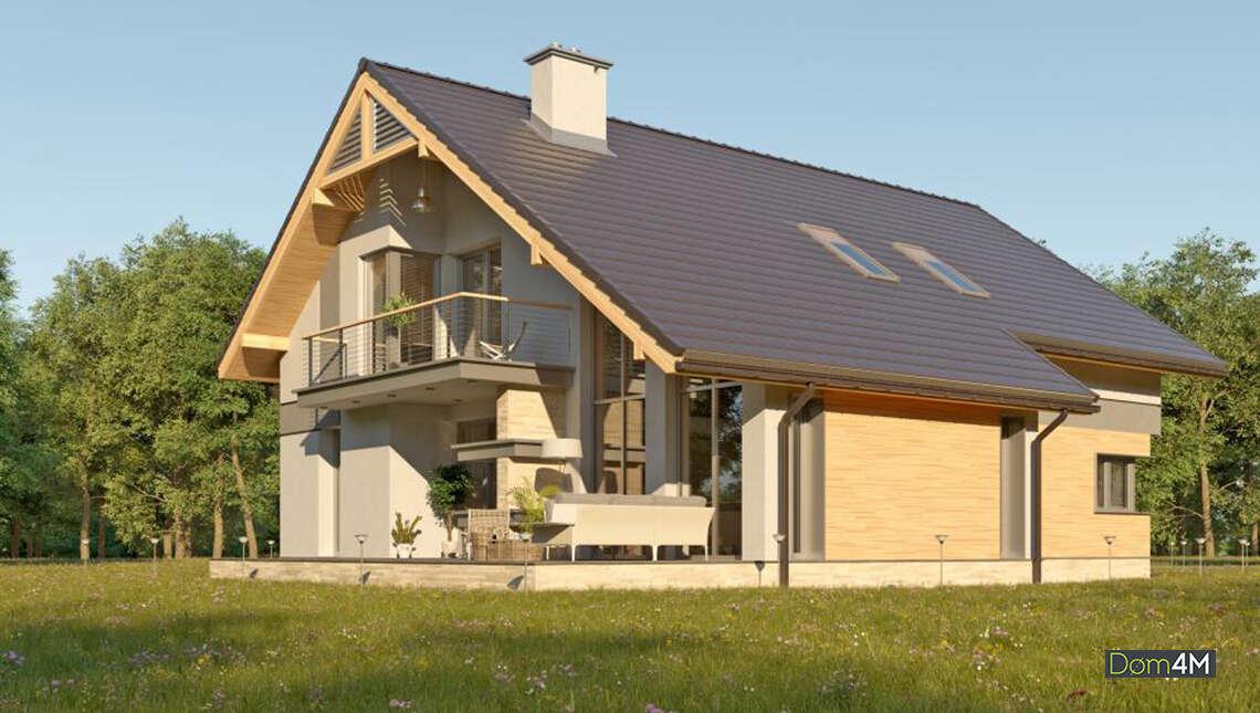 Проект дома с террасой в европейском стиле