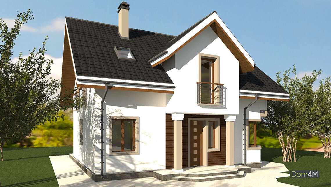 Проект двухэтажного дома с французскими балконами