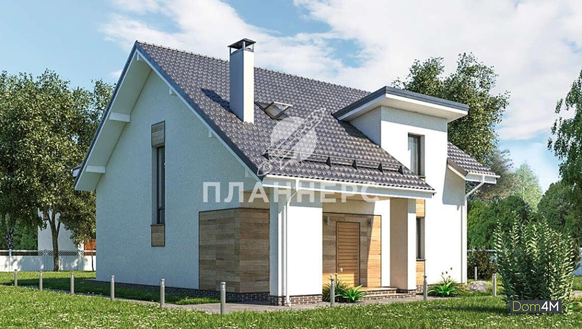 Схема двухэтажного дома площадью 156 кв. м со стильной открытой террасой