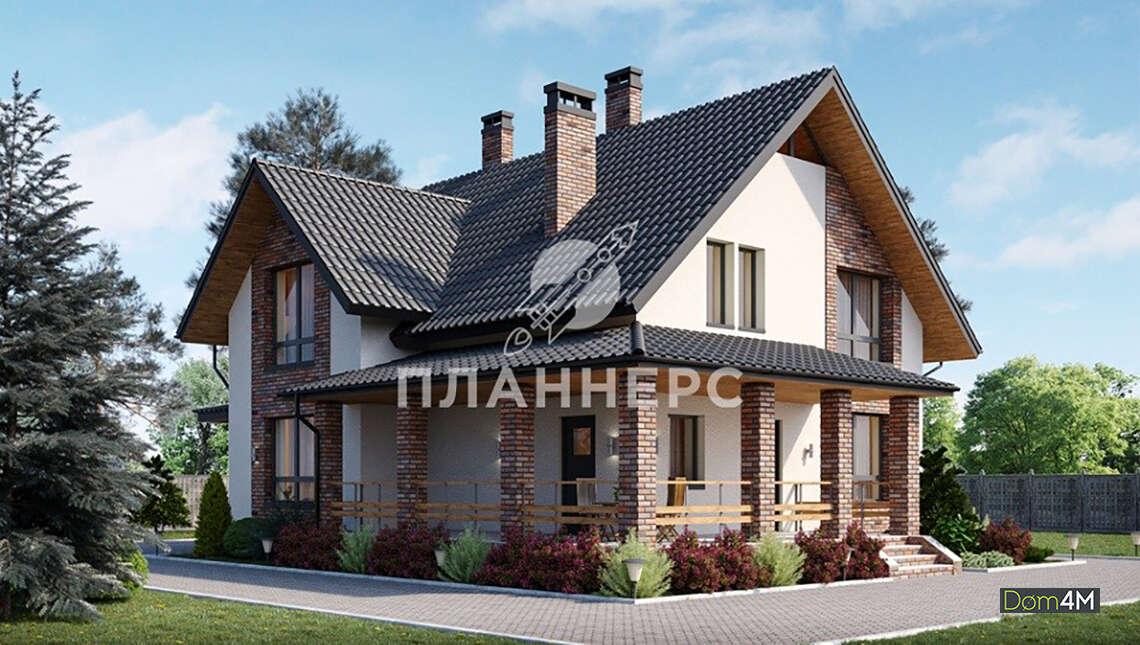 Проект двухэтажного коттеджа площадью 178 кв. м с высоким цоколем, облицованным кирпичом